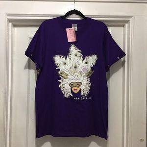 Vintage New Orleans Glittery Mardi Gras Girl Shirt
